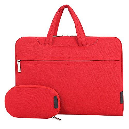 Cuitan 13 13.3 Zoll Wasserdicht Nylon Notebooktasche für Apple MacBook Pro / Apple MacBook Air / Acer Aspire ES1-311 / Asus Zenbook UX305FA, Modisch Laptoptasche Laptophülle Tragetasche Aktentasche Schultertasche Umhängetasche Handtasche mit Power Tasche und Schulter Strap für 13 13.3 Zoll Notebook Ultrabook - Rot