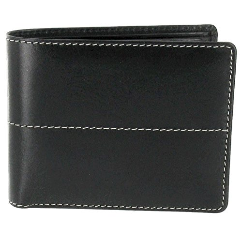 Black Stitching Black Coin Italian Leather Wallet and Pocket Italian Cream rTRrWZ