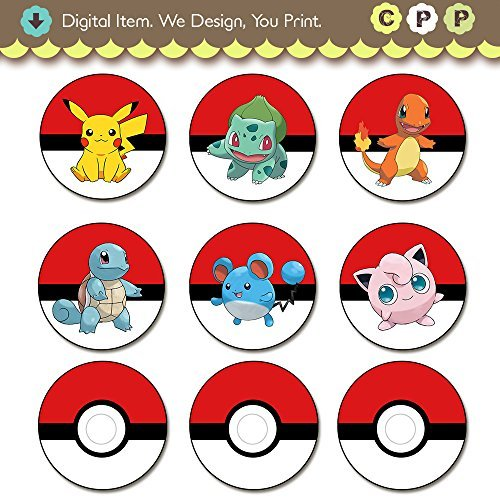 photograph regarding Pokemon Cupcake Toppers Printable named Pokemon Cupcake Toppers Printable Electronic Down load - Purchase