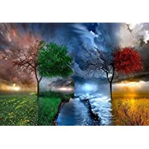 Fipart DIY Diamond Painting Cross Stitch Craft Kit Wall Stickers for Living Room Decoration(12X18inch/30X45CM)Four seasons tree