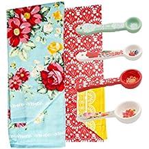 The Pioneer Woman 4-Piece Vintage Floral Ceramic Measuring Spoons and 2 pk Kitchen Towel Set Bundle