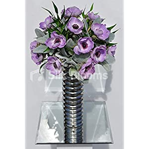 Artificial Fresh Touch Lilac Anemone and Lambsear Floral Arrangement w/Silver Striped Vase 106