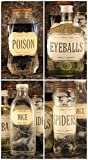 Martha Stewart Crafts Eyeballs, Spiders, Poison, Mice apothecary potion Bottles 4 (four) Halloween/Birthday Party Decoration