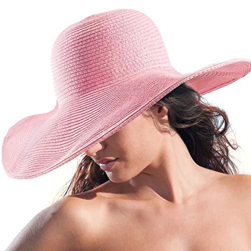(Summer Beach Hats for Women - Pink Sun Protection Straw Hat Ladies Wide Brim Hat)