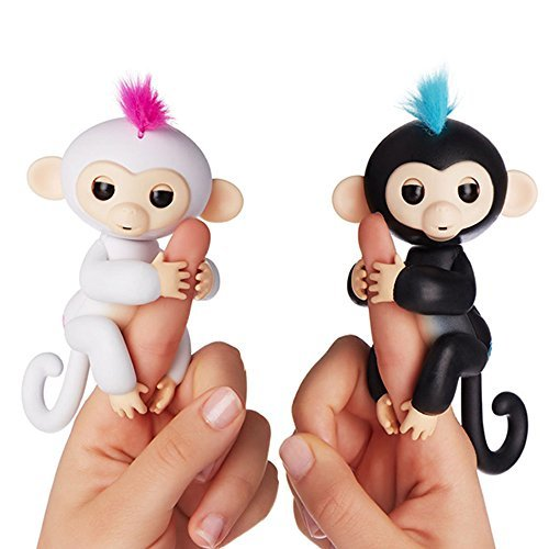 Fingerlings - Interactive Baby Monkeys 2 Pack- Sophie (White with Pink Hair) & Finn (Black with Blue Hair)- by WowWee