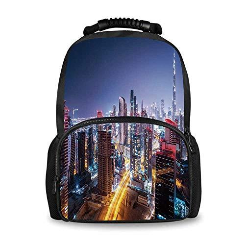 City Adorable School Bag,Nighttime at Dubai Vivid Display United Arab Emirates Tourist Attraction Travel Theme for Boys,12