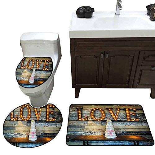 3 Piece Extended Bath mat Set Wedding Decorations Celebration Wedding Cake with Word Love Valentines as Sinage on Wooden Background Customized Rug Set Multicolor ()