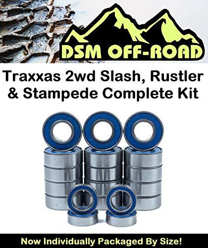 Traxxas 2wd Rustler, Stampede, Slash, Skully, Cranium, Monster Jam Series Complete Bearing Kit Set - VXL & XL5 (19 Bearings) - by DSM ()