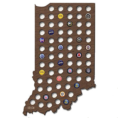Indiana Beer - Indiana Beer Cap Map Wood Bottle Cap Holder Skyline Workshop Beer Craft for Beer Lovers Wall Decor Gifts 21.65 x 14.96