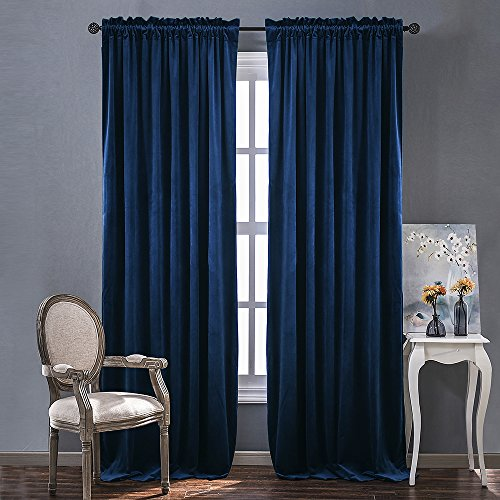 Luxury Blackout Velvet Curtain Panels - Royal Blue Rod Pocket Window Treatment for Living Room / Bedroom / Home Theatre by NICETOWN (1 Pair, 84 inch Length)