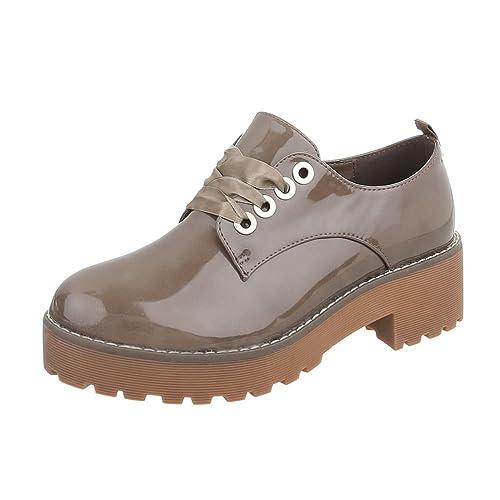 Zapatos Para Mujer Mocasines Tacón Ancho Zapatos con Cordones Marrón Tamaño 36: Amazon.es: Zapatos y complementos