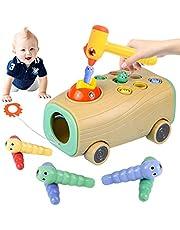 Montessori leksak, magnetisk barnlek, hackspett larver fånga spel, magnetisk barnlek med färger för kognitiv flicka gåva 2 år, pedagogisk leksak för barn pojkar och flickor