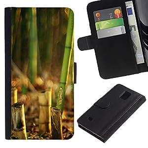 LASTONE PHONE CASE / Lujo Billetera de Cuero Caso del tirón Titular de la tarjeta Flip Carcasa Funda para Samsung Galaxy Note 4 SM-N910 / Bamboo Plant