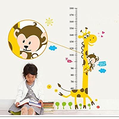 XWDA Cartoon Measure Height Cartoon Wall Sticker Wall Decal Wall Decor Wallpaper for Kids Children Room Height Ruler