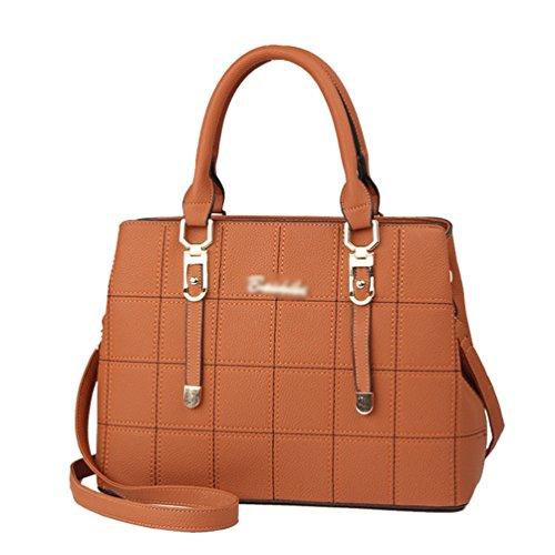 Handbag ZhiYuanAN Female Durable Shoulder Bag Yellow Messenger Single Solid Lattice Color Earthy Comfortable Simple Strap Shoulder BrX0rxdwnq