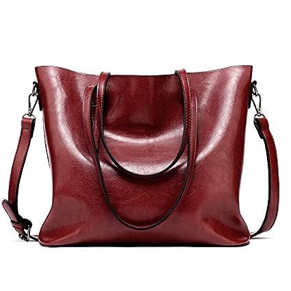 949cc182fa7a Amazon.com  2018 New Fashion Women Pu Leather Handbags Lady Large Tote Bag  Female Shoulder Bags Vntage Bag bolsas Femininas for Bolsa (Burgundy  Color)  ...