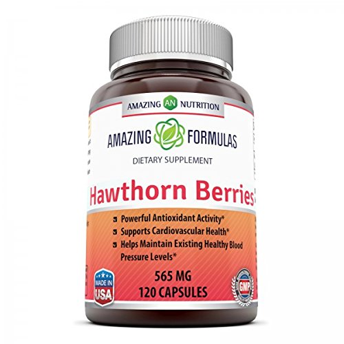 Amazing Formulas Hawthorn Berries – 100% Pure Hawthorne Berry Extract * Powerful Anioxidant Activity * Supports Cardiovascular Health* 565mg Herb Capsules * 120 Capsules Per Bottle