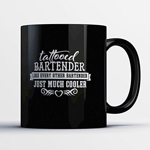 Simple Bartender Halloween Costumes (Bartender Coffee Mug - Tattooed Bartender - Adorable 11 oz Black Ceramic Tea Cup - Cute Bartender Gifts with Bartender Sayings)