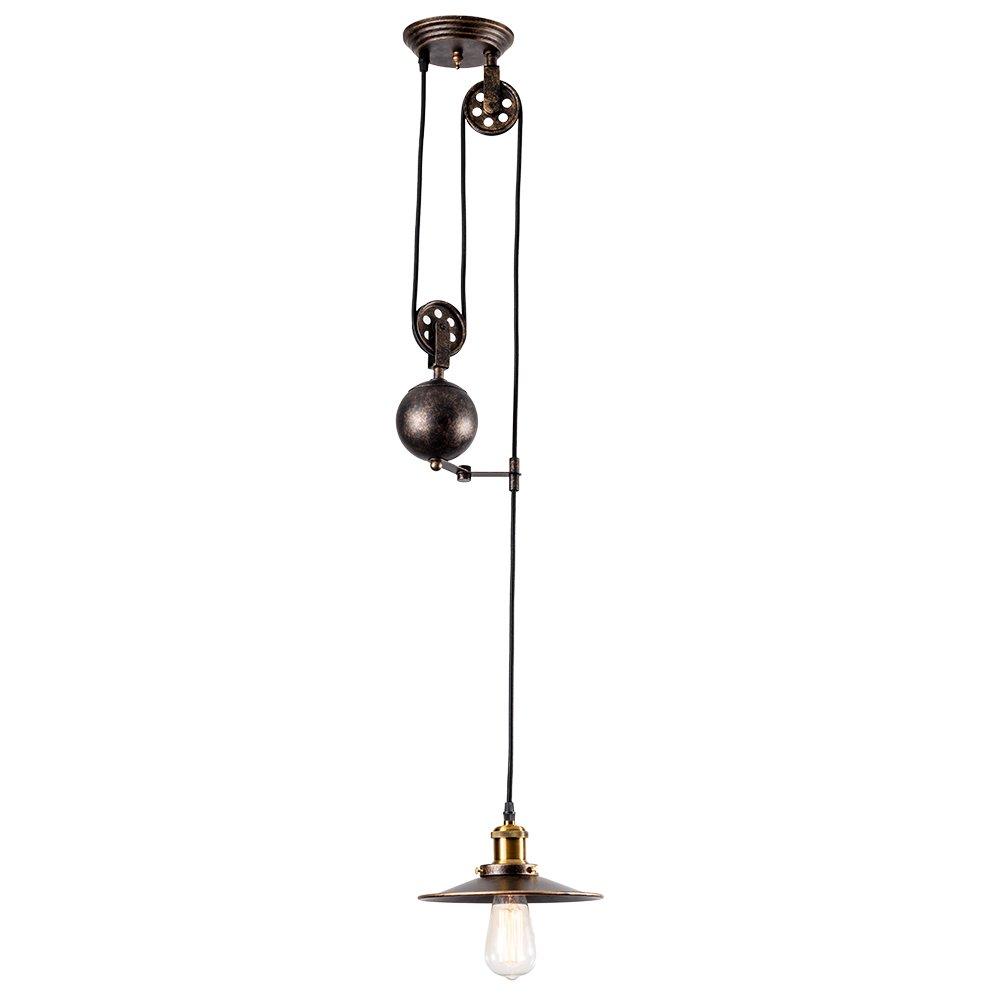 Pendant Light Industrial Pulley, MOONKIST Chandeliers Edison Adjustable Retro American Country Style Retractable Wire Lamps Vintage Indoor Lighting Home Ceiling Lights Fixture (Bronze)