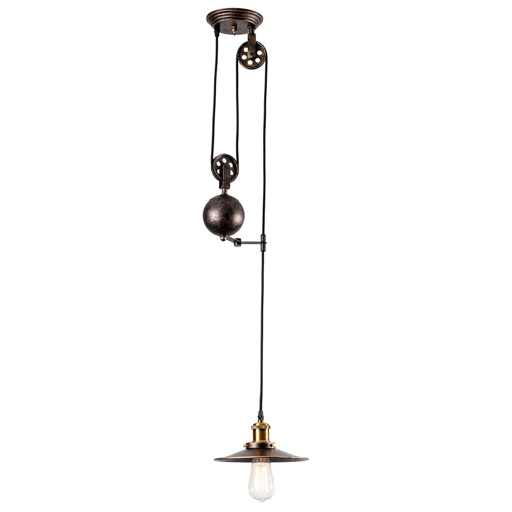 Pendant Light Industrial Pulley, MOONKIST Chandeliers Edison Adjustable Retro American Country Style Retractable Wire Lamps Vintage Indoor Lighting Home Ceiling Lights Fixture (Bronze)