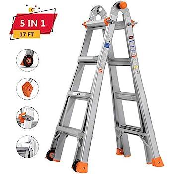 TACKLIFE Multi-Use Ladder, 17ft, 300lb Max Duty, Rivet Link, Spring Loaded