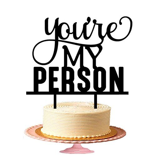 You're My Person Wedding Cake topper/Black Rustic Wedding Cake Topper - Black Wedding People Topper Cake