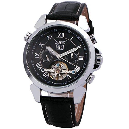 WINNER Men's Black Leather Strap Watch 001 - 4