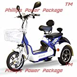 E-Wheels - EW-27 Crossover Pre-Mobility Scooter - 3-Wheel - White/Blue - with PHILLIPS IN HOME...