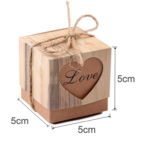 Gold Happy 50pcs Heart Candy Box Vintage Wedding Gifts For Guests Kraft Boxes With Rustic Burlap Twine Decoration Wedding Favors by Gold Happy