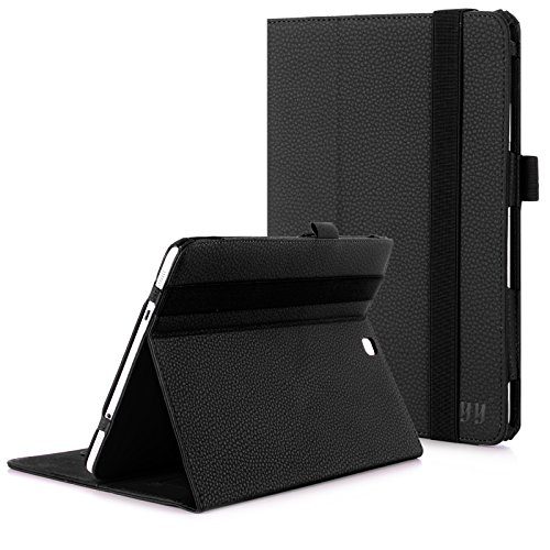 FYY Case for Samsung Galaxy Tab S2 9.7 - Premium Leather Case Stand Cover with Card Slots, Note Holder, Elastic Strap for Samsung Galaxy Tab S2 9.7 Black (with Auto Wake/Sleep)