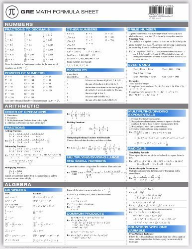 GRE Math Formula Sheet: Yi Hu: 9781615849161: Amazon com: Books