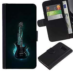 // PHONE CASE GIFT // Moda Estuche Funda de Cuero Billetera Tarjeta de crédito dinero bolsa Cubierta de proteccion Caso Sony Xperia Z3 Compact / Neon Blue Guitar Glow /