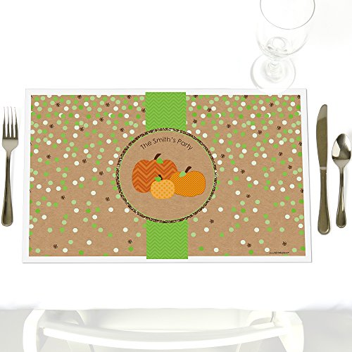 Custom Pumpkin Patch - Party Table Decorations - Personalized Fall & Thanksgiving Party Placemats - Set of 12 (Personalized Placemat Thanksgiving)