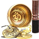 Zen Mind Design Tibetan Singing Bowl Set - with Tingsha Cymbals, Mallet, Cushion, E-Book on Meditation and Additional Gifts Inside - for Yoga and Mindfulness Meditation