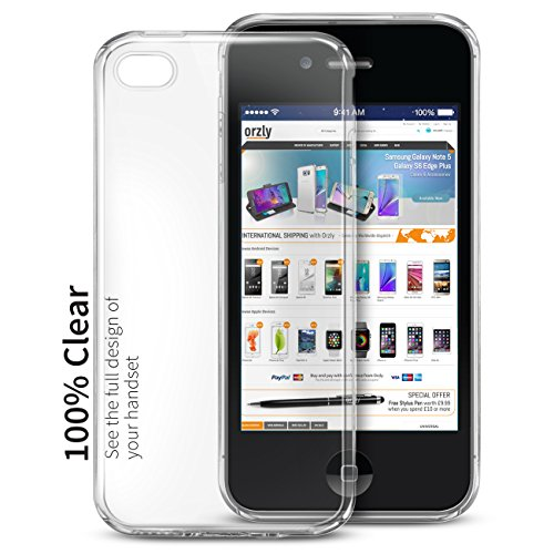 Orzly® - FlexiCase für Apple iPhone 4 (2010 Modell) & iPhone 4S (2011 Version) - Flexible Silikon-Gel-Telefon-Kasten Schutz in 100% TRANSPARENT