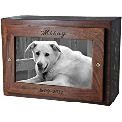 Custom Photo Wood Pet Urn Chest Personalized