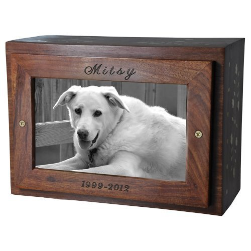 (Memorial Gallery Custom Photo Wood Pet Urn Chest Personalized)