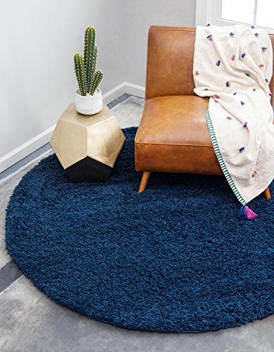 Unique Loom Solo Solid Shag Collection Modern Plush Navy Blue Round (6' x 6')