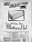 C.RECREATION RV34X75/100%MP RV Trailer Camper Bed Cotton Fitted Mattress Pad White Bunk