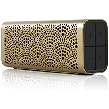 Braven BLUXLBP LUX Portable Wireless Bluetooth Speaker [12 Hr Playtime][Water Resistant] Built-In 1400 mAh Power Bank Charger - Gold