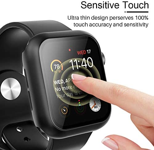 Tauri 2 Pack Hard Case Compatible for Apple Watch Series 3 2 1 38mm Built in 9H Tempered Glass Screen Protector Slim Bumper Touch Sensitive Full Protective Cover Compatible for iWatch 38mm - Black