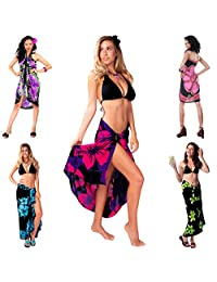 1 World Sarongs Womens Grab Bag of Swimsuit Cover-Up Sarong and Shell Bracelet