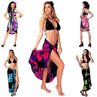 1 World Sarongs Womens Pot Luck Grab Bag of Sarong 1 Sarong picked - Black