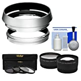 Bower AR-X100 Adapter Ring & Hood for Fuji X100/X100S/X100T/X100F Camera (49mm) with Telephoto/Wide-Angle Lenses + 3 UV/CPL/ND8 Filters + Kit
