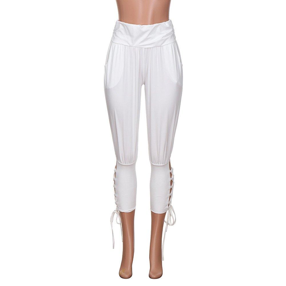 Womens Lace-up Yoga Pant,Ladies Summer Casual Bandage Solid Elastic Waist Retro Pants Leggings Trousers