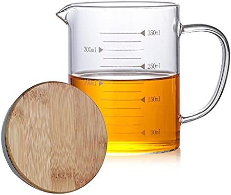 Compra TAMUME 350ml Vaso de Vidrio para Hornear, con Tapa de Bambú ...