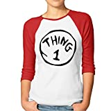 ^GinaR^ Women Middle Sleeve Thing 1 And Thing 2 Bottoming Shirt L Red