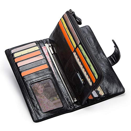 KHGUDS Genuine Leather MenS Long Wallet With Phone Bag Zipper Coin Pocket Purse Male Clutch Wallets For Men Portfel Small