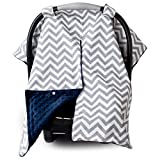 2 in 1 Carseat Canopy and Nursing Cover Up with Peekaboo Opening | Large Infant Car Seat Canopy for Girl or Boy | Best Baby Shower Gift for Breastfeeding Moms | Chevron Pattern with Navy Blue Minky