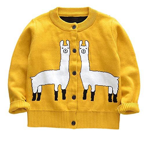 Cardigan Single (CSSD Affordable Newest Stylish Baby Girls Winter Cute Sweater,Kids Knit Alpaca Cartoon Cardigan Single Row Knit Sweater Jacket Clothes (Yellow, 5T))
